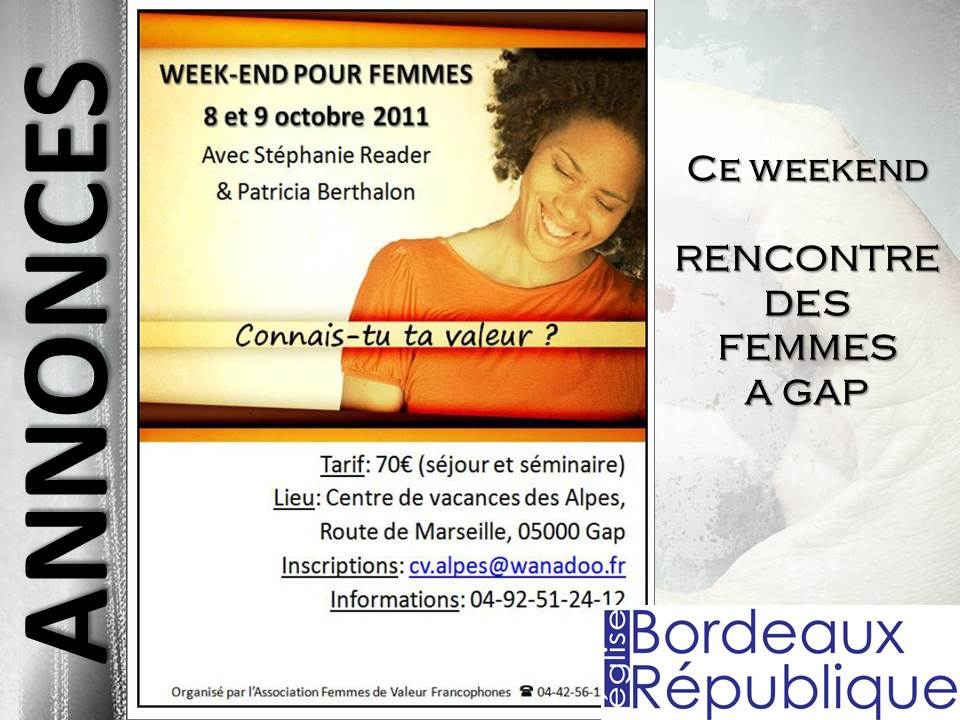 rencontre ce week end